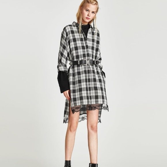 Zara Dresses & Skirts - Zara checked shirt dress lace details